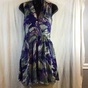 Reiss Carmen Purple Drape Floral Print Dress Sz 4